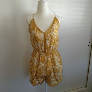 Yellow and white Romper